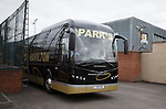 Rangers team arrives at Alloa's Indodrill Stadium to train on their synthetic surface ahead of the match on Sunday. Parks of Hamilton team bus