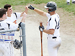 TORRINGTON CT. 04 Augusr 2017-080417SV08-#20 Mike Odenwaelder of Watertown Blaze, right, gets congratulated by teammates after hitting a homerun in the 4th inning against North Haledon Reds during the Stan Musial tournament in Torrington Friday.<br /> Steven Valenti Republican-American