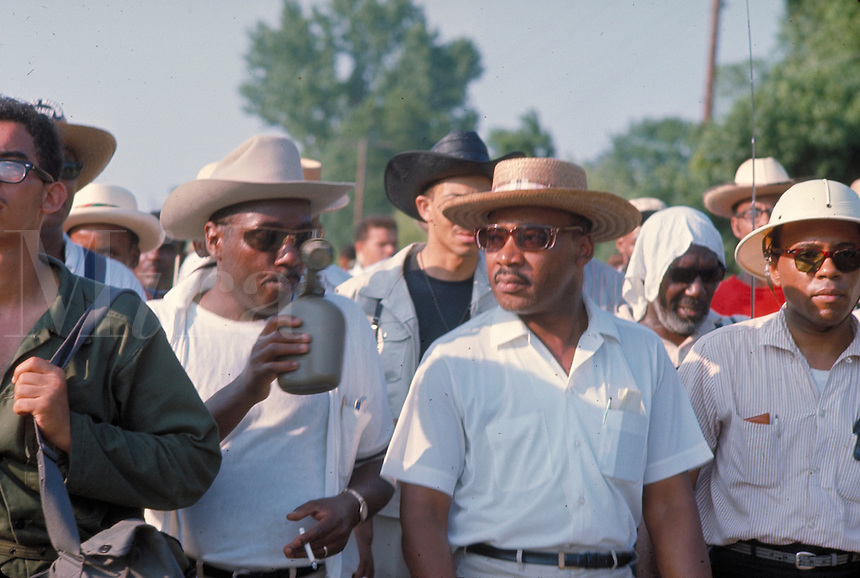 James Meredith March Through Mississippi, June 1966. Press interview along march route - Martin Luther King, Ralph Abernathy (hat), Stokley Carmichael, Martin Luther King, Jr., Ralph Abernath.