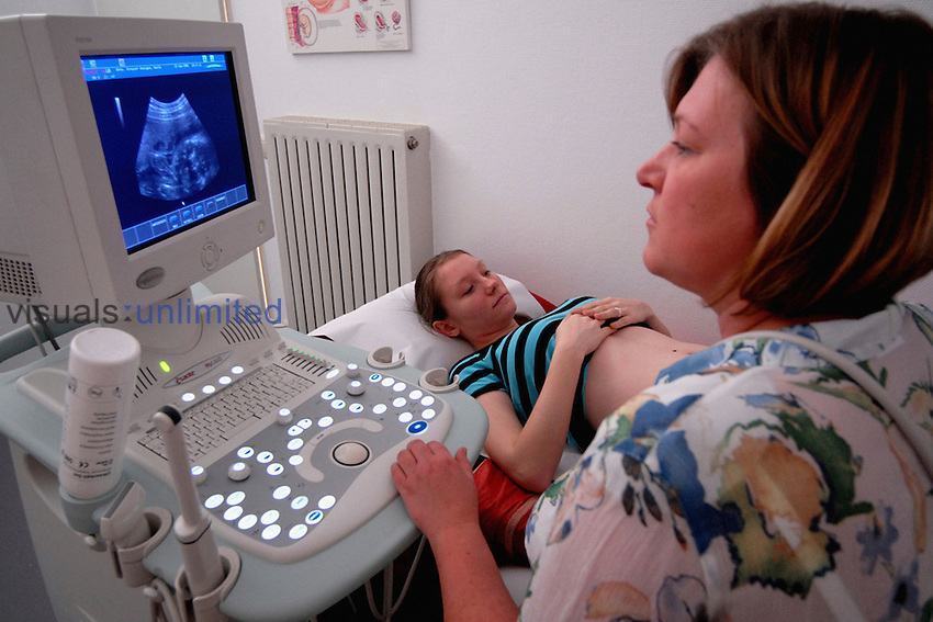 Pregnant woman getting an ultrasound