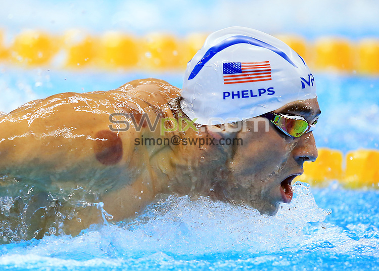 RIO DE JANEIRO, BRAZIL - AUGUST 08:  Michael Phelps of the USA competes in the Men's 200m Butterfly Heats on Day 3 of the Rio 2016 Olympic Games at the Olympic Aquatics Stadium on August 8, 2016 in Rio de Janerio, Brazil.  (Photo by Vaughn Ridley/SWpix.com)