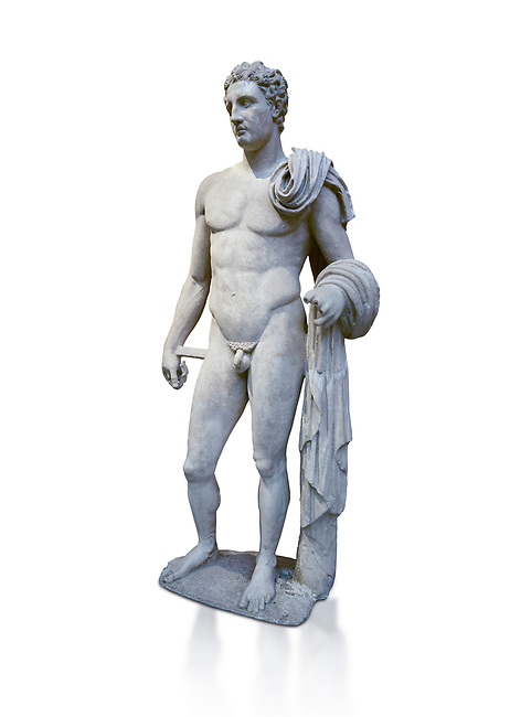 The 'Atalante Hermes' Roman marble statue found at Atalante. 2nd Cemt AD copy of the 4th cent BC Lysippean Greek style. Athens Archaeological Museum, cat no 240. Against white, <br /> <br /> Funserary statue of a youth depicted as Hermes. He is shown nude with his chlamys over his shoulder and wound around his right arm. In his left hand he holds a 'caduceus'.