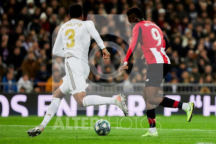 Eder Militao of Real Madrid and Inaki Williams of Athletic Club during La Liga match between Real Madrid and Athletic Club de Bilbao at Santiago Bernabeu Stadium in Madrid, Spain. December 22, 2019. (ALTERPHOTOS/A. Perez Meca)
