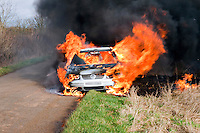 Severe fire involving an abandoned car..©shoutpictures.com..john@shoutpictures.com