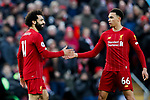 Mohamed Salah of Liverpool celebrates with Trent Alexander-Arnold after scoring the third goal of the game during the Premier League match at Anfield, Liverpool. Picture date: 1st February 2020. Picture credit should read: James Wilson/Sportimage