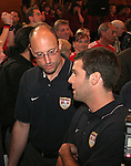 07 June 2006: Kasey Keller (USA) (left) talks with teammate Ben Olsen (USA) (right). The United States Men's National Team was honored at City Hall, the Rathaus, in Hamburg, Germany, where the team is based out of for the FIFA 2006 World Cup tournament.