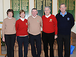 Seapoint Captain Michael Lambe and lady captain Frances Stanley, County Louth captain Declan O'Brien, Lady captain Geraldine Collier, laytown and Bettystown captain Joe O'Toole pictured at the Captain's Drive in at Seapoint golf club. Photo: Colin Bell/pressphotos.ie