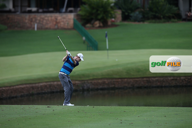 Kevin Phelan (IRL) plays the chip to the 18th during Round Two of the Alfred Dunhill Championship 2013 at Leopard Creek, Malelane, South Africa. Picture:  David Lloyd / www.golffile.ie
