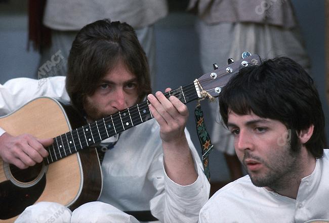 John Lennon and Paul McCartney, Maharishi Mahesh Yogi's ashram, Rishikesh, India, January 1968