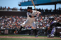 SAN FRANCISCO, CA - JUNE 28:  Brandon Belt #9 of the San Francisco Giants bats against the Colorado Rockies during the game at AT&T Park on Thursday, June 28, 2018 in San Francisco, California. (Photo by Brad Mangin)