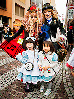 Parents & kids dress up for the Kawasaki Halloween parade that has over 3000 participants.