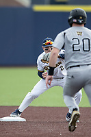 Michigan Wolverines shortstop Jack Blomgren (2) records a putout at second base against the Western Michigan Broncos on March 18, 2019 in the NCAA baseball game at Ray Fisher Stadium in Ann Arbor, Michigan. Michigan defeated Western Michigan 12-5. (Andrew Woolley/Four Seam Images)