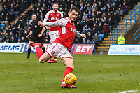 Conor McAleny of Fleetwood Town shoots during the Sky Bet League 1 match between Gillingham and Fleetwood Town at the MEMS Priestfield Stadium, Gillingham, England on 27 January 2018. Photo by David Horn.