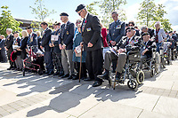 Veterans observe a two minute silence during a service at the National Memorial Arboretum in Alrewas, Staffordshire, during an event to commemorate the 75th anniversary of the D-Day landings. Photo Credit: ALPR/AdMedia