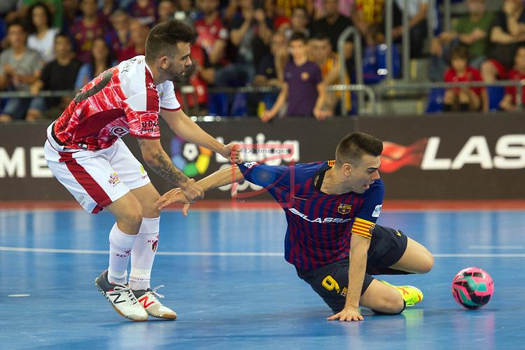 League LNFS 2018/2019.<br /> PlayOff Final. 1er. partido.<br /> FC Barcelona Lassa vs El Pozo Murcia: 7-2.<br /> Alex Yepes vs Sergio Lozano.