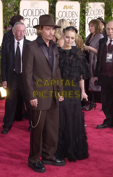 JOHNNY DEPP & VANESSA PARADIS.61st Annual Golden Globe Awards, Los Angeles.January 25th, 2004.full length, married, husband, wife, brown suit, hat, black dress, ruffles.www.capitalpictures.com.sales@capitalpictures.com.© Capital Pictures.