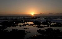 Sunrise over the rock pools, Corralejo, Fuerteventura, Canary Islands.