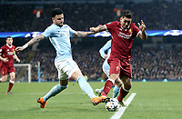 Liverpool's Roberto Firmino is tackled by Manchester City's Kyle Walker<br /> <br /> Photographer Rich Linley/CameraSport<br /> <br /> UEFA Champions League Quarter-Final Second Leg - Manchester City v Liverpool - Tuesday 10th April 2018 - The Etihad - Manchester<br />  <br /> World Copyright &copy; 2017 CameraSport. All rights reserved. 43 Linden Ave. Countesthorpe. Leicester. England. LE8 5PG - Tel: +44 (0) 116 277 4147 - admin@camerasport.com - www.camerasport.com