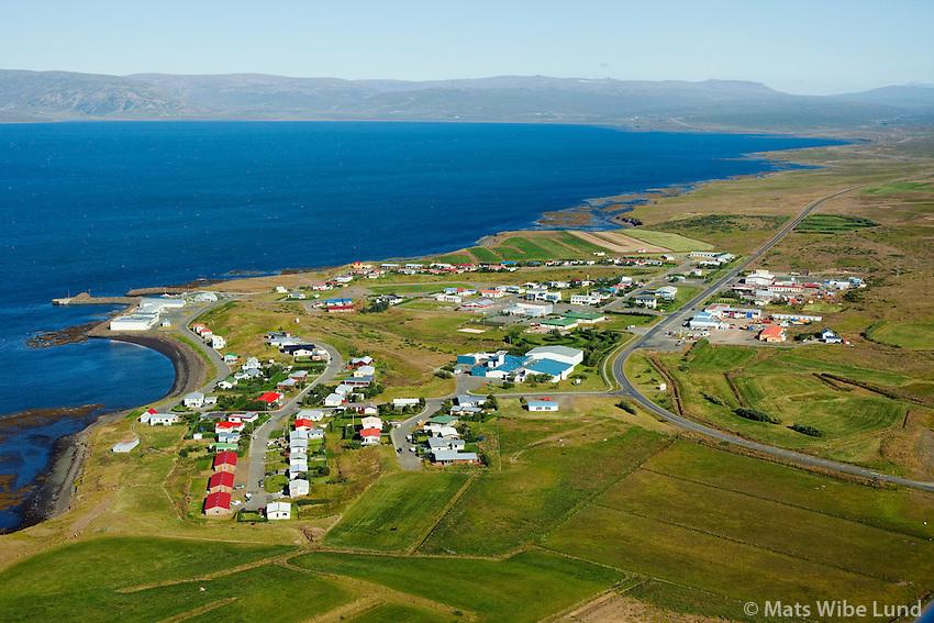 Búðardalur séð til norðausturs, Dalabyggð /  Budardalur viewing northeast, Dalabyggd.