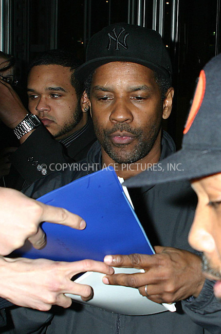 WWW.ACEPIXS.COM................March 31 2010, New York City....Actor Denzel Washington leaves a TV show in Manhattan on March 31 2010 in New York City....Please byline: R. BOCKLET-ACEPIXS.COM  ..  ***  ..Ace Pictures, Inc:  ..tel: (646) 769 0430..e-mail: info@acepixs.com..web: http://www.acepixs.com