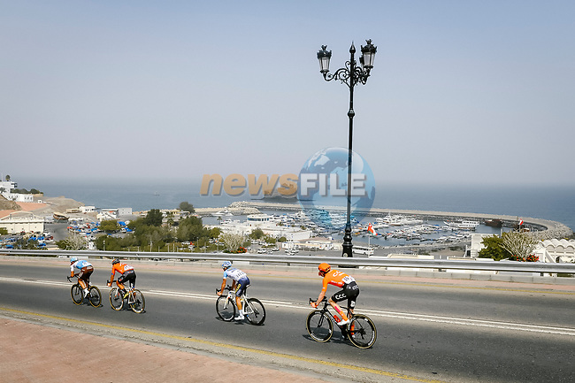 The breakaway featuring Nathan Van Hooydonck (BEL) CCC Team, Stijn Vandenbergh (BEL) AG2R La Mondiale, Alexis Guerin (FRA) Delko-Marseille Provence and Adam de Vos (CAN) Rally-UHC during Stage 6 of the 10th Tour of Oman 2019, running 135.5km from Al Mouj Muscat to Matrah Corniche, Oman. 21st February 2019.<br /> Picture: ASO/P. Ballet | Cyclefile<br /> All photos usage must carry mandatory copyright credit (© Cyclefile | ASO/P. Ballet)