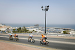 The breakaway featuring Nathan Van Hooydonck (BEL) CCC Team, Stijn Vandenbergh (BEL) AG2R La Mondiale, Alexis Guerin (FRA) Delko-Marseille Provence and Adam de Vos (CAN) Rally-UHC during Stage 6 of the 10th Tour of Oman 2019, running 135.5km from Al Mouj Muscat to Matrah Corniche, Oman. 21st February 2019.<br /> Picture: ASO/P. Ballet | Cyclefile<br /> All photos usage must carry mandatory copyright credit (&copy; Cyclefile | ASO/P. Ballet)