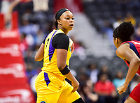 Washington, DC - June 15, 2018: Los Angeles Sparks guard Riquna Williams (2) brings the ball up court during game between the Washington Mystics and Los Angeles Sparks at the Capital One Arena in Washington, DC. (Photo by Phil Peters/Media Images International)