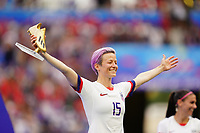 LYON, FRANCE - JULY 07: Megan Rapinoe #15 after the 2019 FIFA Women's World Cup France final match between the Netherlands and the United States at Stade de Lyon on July 07, 2019 in Lyon, France.