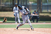 AZL Padres 2 shortstop Jordy Barley (55) swings at a pitch during an Arizona League game against the AZL Dodgers at Camelback Ranch on July 4, 2018 in Glendale, Arizona. The AZL Dodgers defeated the AZL Padres 2 9-8. (Zachary Lucy/Four Seam Images)