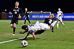 GREENSBORO, NC - DECEMBER 02: Kirby Robbins #16 of Messiah College collides with Gustav Leander #18 of North Park University during the Division III Men's Soccer Championship held at UNC Greensboro Soccer Stadium on December 2, 2017 in Greensboro, North Carolina. Messiah College defeated North Park University 2-1 to win the national title. (Photo by Grant Halverson/NCAA Photos via Getty Images)