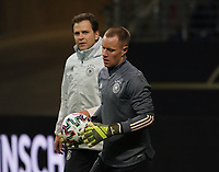 Torwart Marc-Andre ter Stegen (Deutschland Germany) mit Teammanager der Nationalmannschaft Oliver Bierhoff (Deutschland Germany) - 18.11.2019: Deutschland Abschlusstraining, Commerzbank Arena Frankfurt, EM-Qualifikation DISCLAIMER: DFB regulations prohibit any use of photographs as image sequences and/or quasi-video.