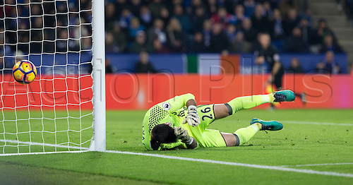 26.11.2016. King Power Stadium, Leicester, England. Premier League Football. Leicester City versus Middlesbrough. Middlesbrough goalkeeper Victor Valdes on the ground as a shot from Leicester City midfielder Daniel Amartey just misses his post in the last minutes of the match.