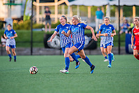 Boston, MA - Friday May 19, 2017: Natasha Dowie and Adriana Leon during a regular season National Women's Soccer League (NWSL) match between the Boston Breakers and the Portland Thorns FC at Jordan Field.