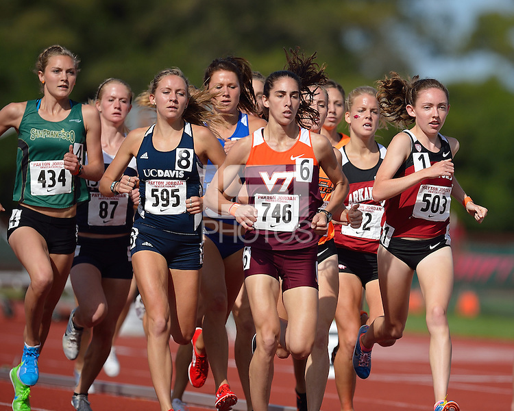 STANFORD, CA - APRIL 29, 2012: Stanford track & field  competes in the Payton Jordan Invitational at Cobb Track and Angell Field in Stanford, California on April 29, 2012.
