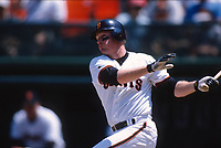 SAN FRANCISCO, CA:  Matt Williams of the San Francisco Giants bats during a game at Candlestick Park in San Francisco, California in 1996. (Photo by Brad Mangin)