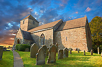 The exterior of the Norman Romanesque church of St Peters, Rowlstone, Herefordshire, England