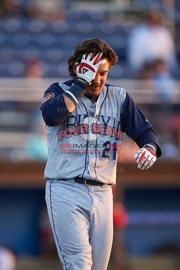 Brooklyn Cyclones designated hitter Jay Jabs (21) reacts after getting hit in the head by a pitch during a game against the Batavia Muckdogs on July 5, 2016 at Dwyer Stadium in Batavia, New York.  Brooklyn defeated Batavia 5-1.  (Mike Janes/Four Seam Images)