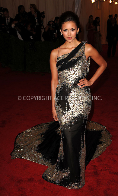 WWW.ACEPIXS.COM . . . . . ....May 7 2012, New York City....Nina Dobrev arriving at the 'Schiaparelli And Prada: Impossible Conversations' Costume Institute Gala at the Metropolitan Museum of Art on May 7, 2012 in New York City.....Please byline: KRISTIN CALLAHAN - ACEPIXS.COM.. . . . . . ..Ace Pictures, Inc:  ..(212) 243-8787 or (646) 679 0430..e-mail: picturedesk@acepixs.com..web: http://www.acepixs.com