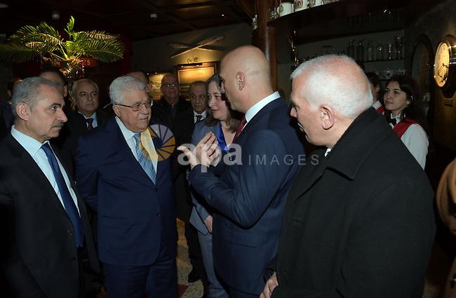 Palestinian President Mahmoud Abbas visits el-gedar hotel in the West Bank city of Bethlehem, on  January 18, 2020. Photo by Thaer Ganaim