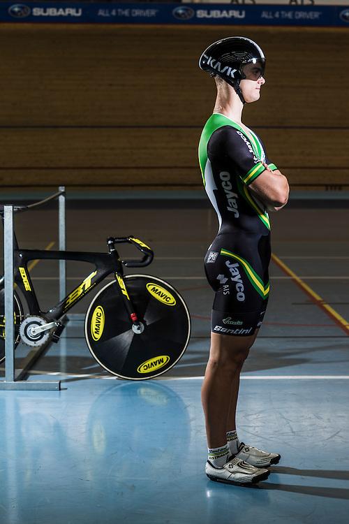 Australian Track  Sprint Cyclist Matt (Mathew) Glaetzer at the Adelaide Super-Drome Velodrome, with his BT Carbon-fibre Track Bike.
