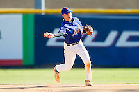Second baseman Andrew Beckwith #22 of Blythewood (SC) High School makes a throw to first base against the Red Sox (NC13) at the 2012 South Atlantic Border Battle on November 3, 2012 in Burlington, North Carolina.  The Mets (SC13) defeated the Red Sox (NC 13) 3-2.  (Brian Westerholt/Four Seam Images)