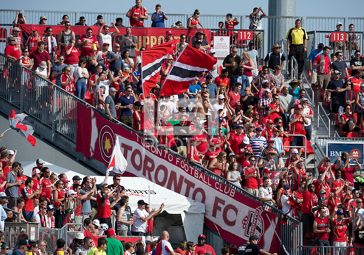 20 July 2013: The Toronto FC fans show their support during an MLS regular season game between the New York Red Bulls and Toronto FC at BMO Field in Toronto, Ontario Canada.<br /> The game ended in a 0-0 draw.