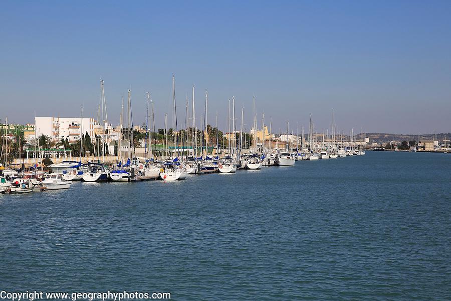 Yachts moored on quayside, Puerto de Santa de Maria, Cadiz province, Spain