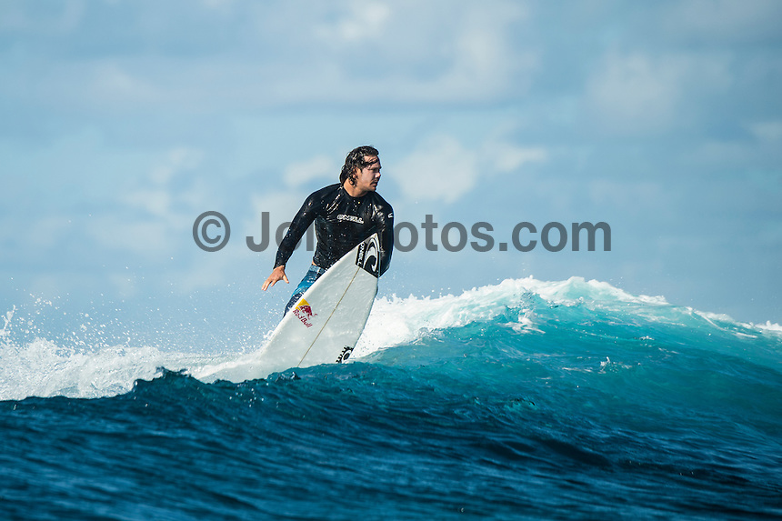 Namotu Island Resort, Nadi, Fiji (Saturday, June 9 2016): Jordy Smith (ZAF) The Fiji Pro, stop No. 5 of 11 on the 2016 WSL Championship Tour, was called off again today due to the lack of contestable swell at Cloudbreak. The contest is facing a number of lay days due to the small surf conditions and bad winds.  <br />  There was a slight increase in the swell this morning but there were strong SW winds making the ocean very choppy.<br /> Photo: joliphotos.com