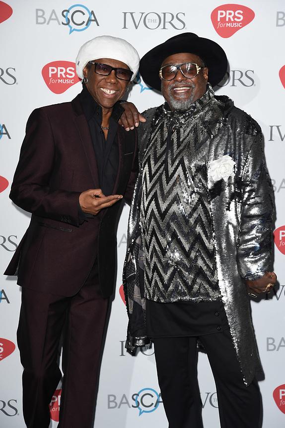 Nile Rodgers and George Clinton<br /> at The Ivor Novello Awards 2017, Grosvenor House Hotel, London. <br /> <br /> <br /> ©Ash Knotek  D3267  18/05/2017