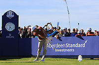Sergio Garcia (Team Europe) on the 11th tee during Saturday Foursomes at the Ryder Cup, Le Golf National, Ile-de-France, France. 29/09/2018.<br /> Picture Thos Caffrey / Golffile.ie<br /> <br /> All photo usage must carry mandatory copyright credit (&copy; Golffile | Thos Caffrey)