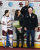 Danielle Doherty (BC - 19), Patricia Doherty, Andrew Zagorianakos (BC - Assistant Manager), Thomas Doherty -  The Boston College Eagles defeated the visiting Boston University Terriers 5-0 on BC's senior night on Thursday, February 19, 2015, at Kelley Rink in Conte Forum in Chestnut Hill, Massachusetts.