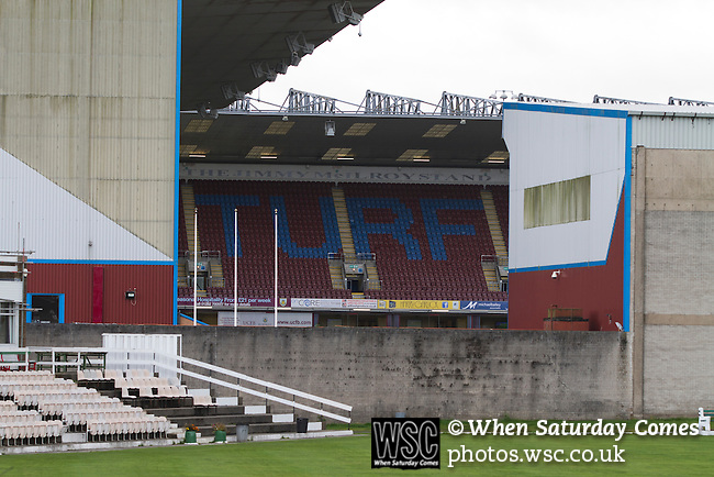 Burnley 1 West Ham United 3, 18/10/2014. Turf Moor, Premier League. The Jimmy McIlroy stand and Turf Moor, home of Burnley FC seen from the adjoining cricket club, pictured on the day the club hosted West Ham United in an English Premier League match. The fixture was won by the visitors by three goals to one watched by 18,936 spectators. The defeat meant that Burnley still had not won a league match since being promoted from the Championship the previous season. Photo by Colin McPherson.
