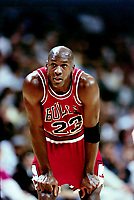 "NBA basketball great Michael Jordan on the court against the Golden State Warriors Wednesday November 20 1991. Jordan and the Bulls won the game 112-108. Jordan scored 35 points. Jordan played 15 seasons in the National Basketball Association (NBA) for the Chicago Bulls and Washington Wizards. His biography on the official NBA website states: ""By acclamation, Michael Jordan is the greatest basketball player of all time. (Photo by Alan Greth)"