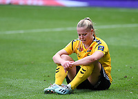 20190810 - ANDERLECHT, BELGIUM : LSK's Therese Asland pictured looking dejected and disappointed after losing the female soccer game between the Belgian RSCA Ladies – Royal Sporting Club Anderlecht Dames  and the Norwegian LSK Kvinner Fotballklubb ladies , the second game for both teams in the Uefa Womens Champions League Qualifying round in group 8 , saturday 10 th August 2019 at the Lotto Park Stadium in Anderlecht  , Belgium  .  PHOTO SPORTPIX.BE for NTB NO | DAVID CATRY
